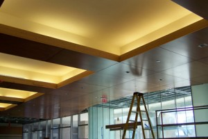 Ceiling panels with lighting
